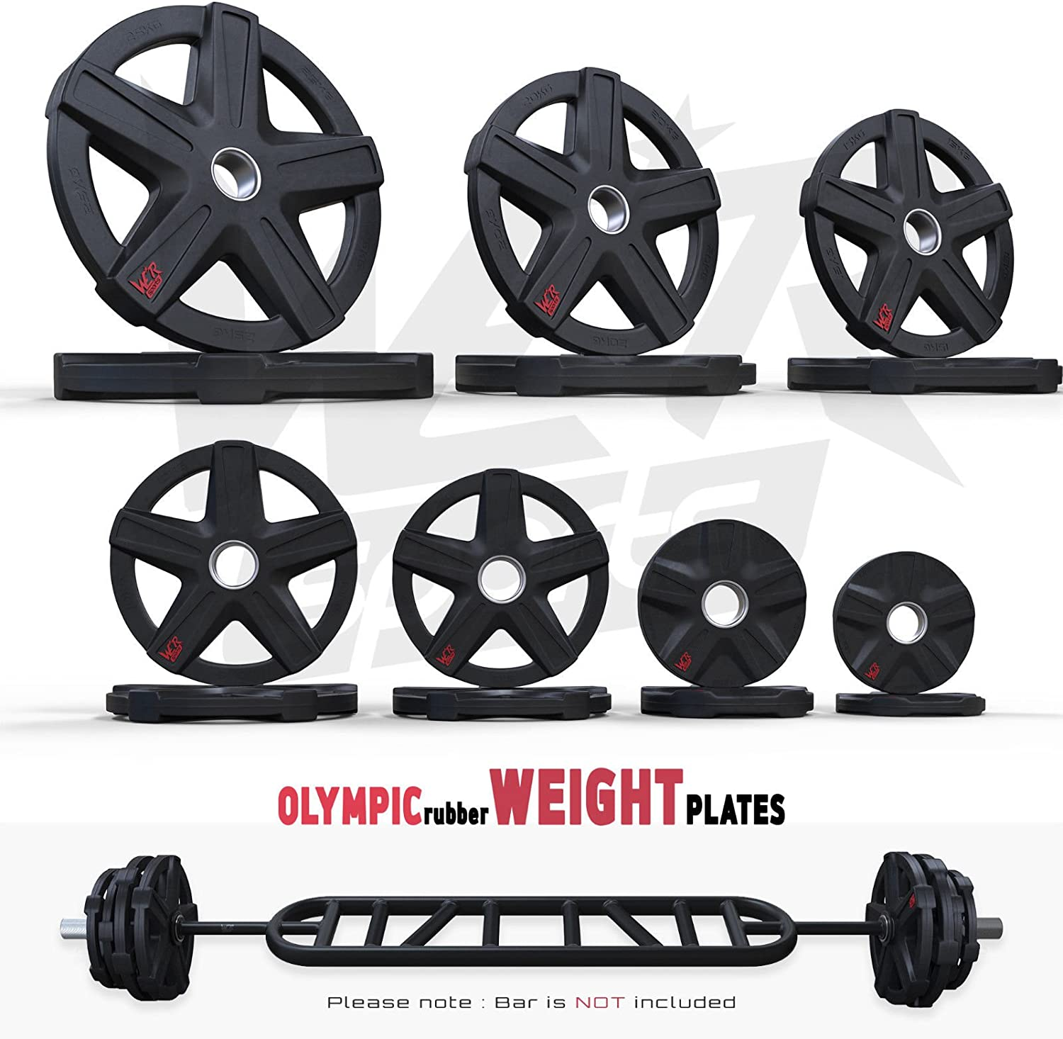 Pair ReXFlex Olympic Rubber Encased Weight Plates Disc Ez Barbell Weights Fitness Gym Commercial Plates Set Of 2