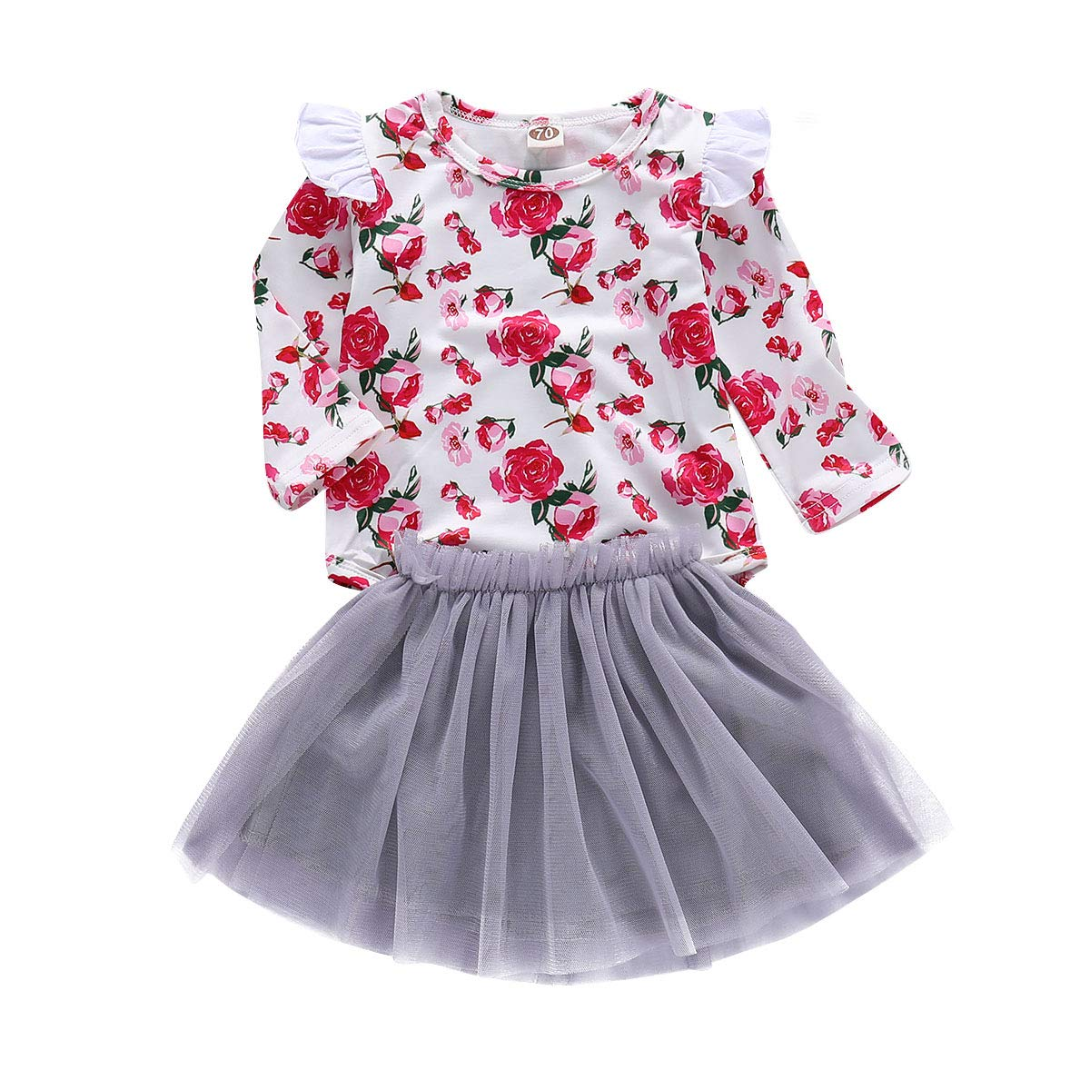 Lahyra 2PCS Baby Girl Floral Printed Lace Ruffle Top+Bow Short Pants Outfits Clothing Set