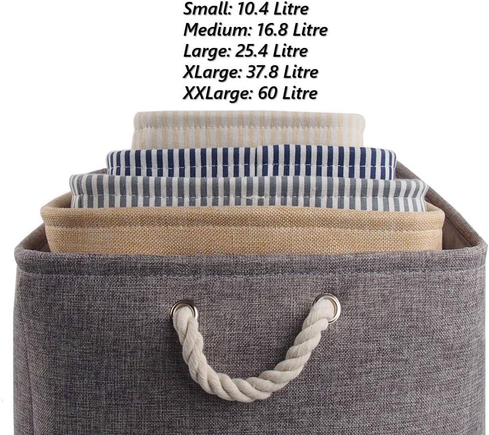 Strisce Blu, Small Cestino di stoccaggio Pieghevole per Armadio mensola MANGATA Scatola di immagazzinaggio in Tessuto di Tela Pieghevole con Manici in Corda Armadio