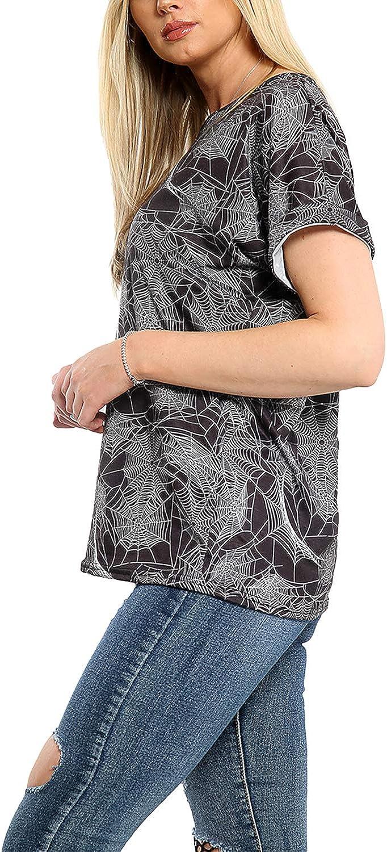 Fashion Star Womens Halloween Butterfly Floral Skull T Shirt Spider Web Black