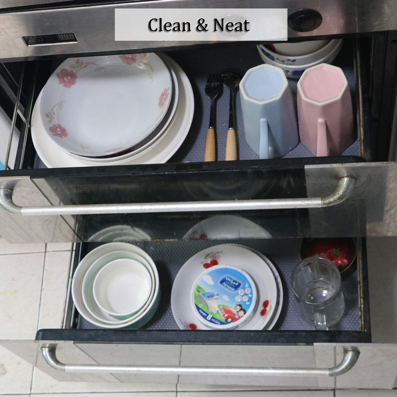 Alfombras Non Adhesivo para Nevera Mueble Fregadero Estante Organizador Cubiertos Cubre Encimera Hersvin 30cmx150cmx3 Rollos Plastico Protector para Cocina Cajones Transparente Punto