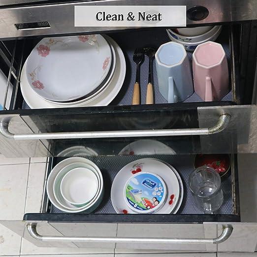 Refrigerador No Adhesivo 30x150cm Alfombra Antideslizante de EVA para Cajon Cocina Gabinete Impermeable Antibacteriano Proteger Estantes Mesas Hersvin Gris Claro//Puntos,30x150cm