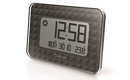 Oregon Scientific JW208_W - Reloj de Pared Digital GLAZE con termómetro y calendario, color Negro