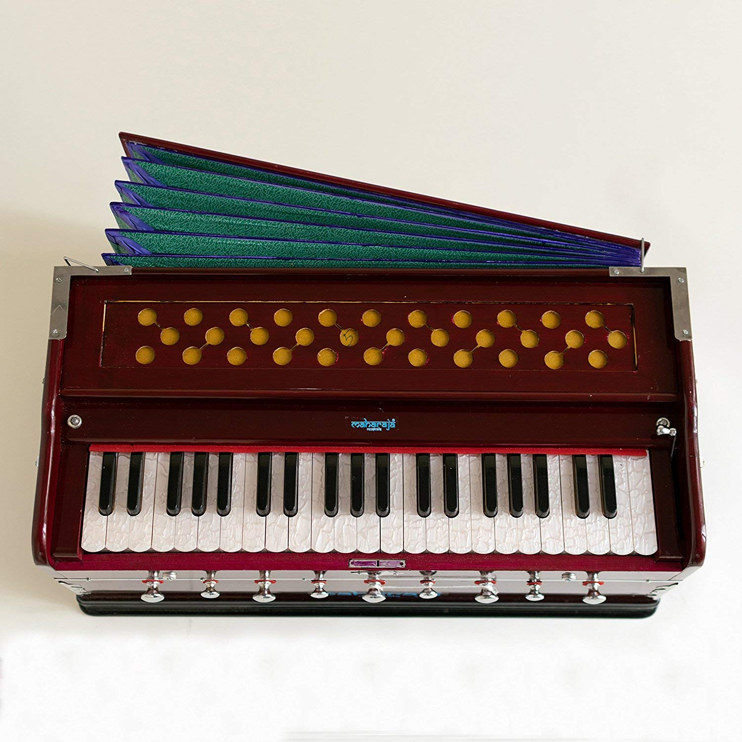 Harmonium Musical Instrument, Maharaja Musicals, 9 Stops, 3 1/2 Octave, Double Reed, Coupler, Dark Mahogany, Standard, Book, Padded Bag, A440 Tuned, Indian Sangeeta Harmonium (PDI-43) by Maharaja Musicals