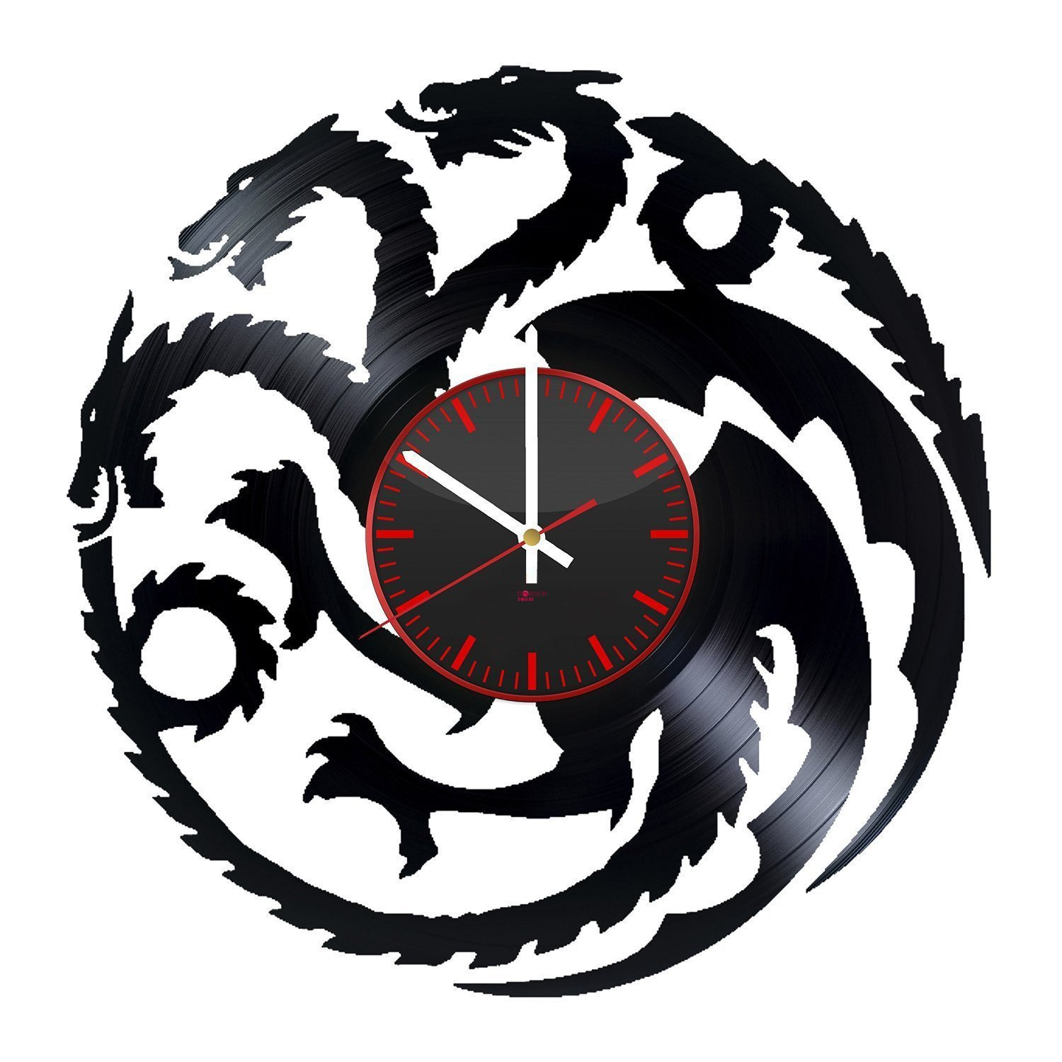 "Game of Thrones Vinyl Record Wall Clock - Get unique home room wall decor - Gift ideas for his and her ??"" Dragons Silhouette Unique Art Design"