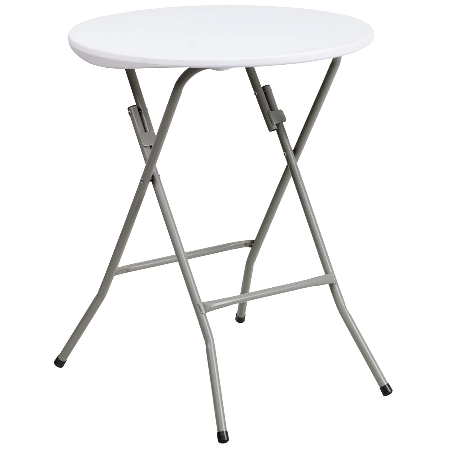Flash Furniture 24'' Round Granite White Plastic Folding Table Flash Furniture - DROPSHIP DAD-YCZ-80R-1-SM-GW-GG