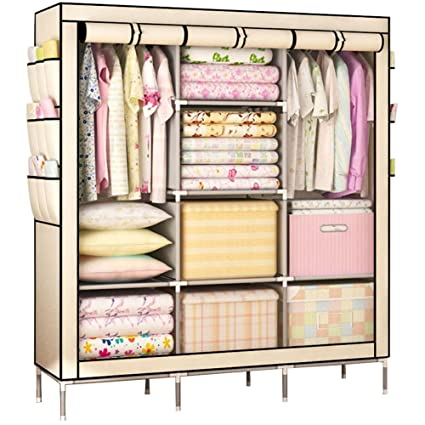 KALRI Portable Clothes Closet Non Woven Fabric Wardrobe Double Rod Storage  Organizer (beige)