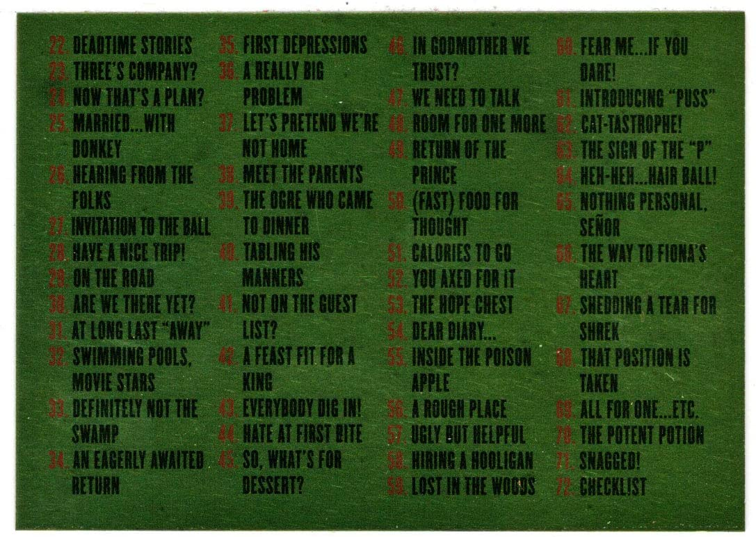 Amazon Com Checklist Shrek 2 Trading Card Foil Edition 58 Cards Inc 2004 Mint Sports Outdoors