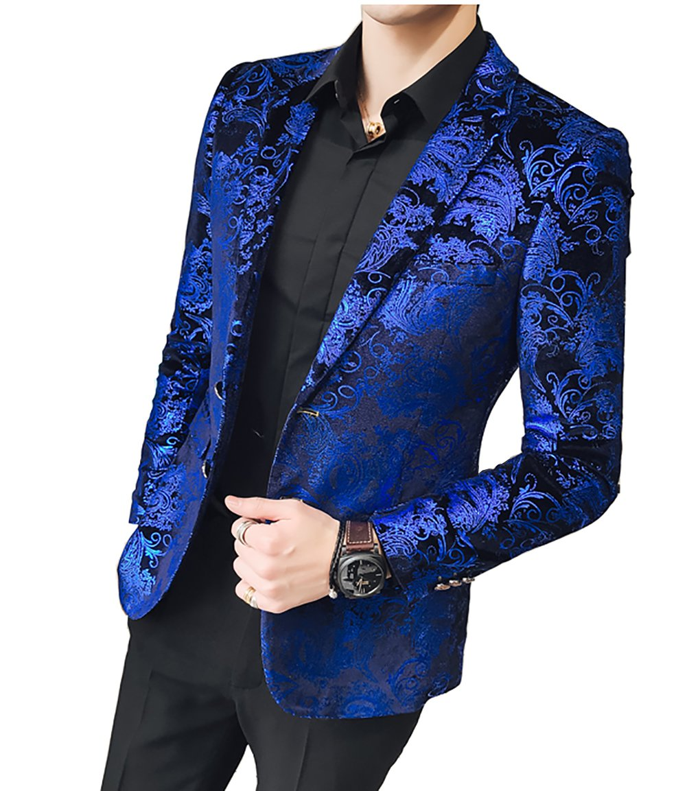 WULFUL Men's Luxury Casual Dress Floral Suit Notched Lapel Slim Fit Stylish Blazer Jacket Party Coats Blue by WULFUL
