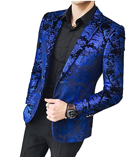 f9b8c6473213b WULFUL Men's Luxury Casual Dress Floral Suit Notched Lapel Slim Fit Stylish  Blazer Jacket Party Coats
