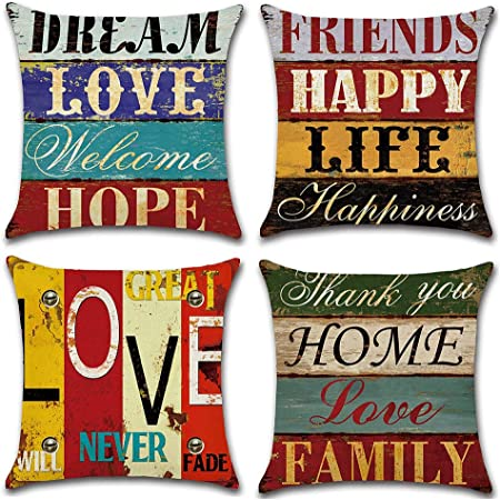 Gspirit Funda Cojines Mediterráneo Amor Vendimia Tema 4 Pack Algodón Lino Decorativo Throw Pillow Case Funda Almohada 45x45cm: Amazon.es: Hogar