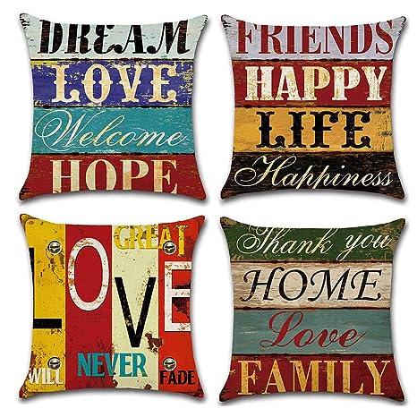 Gspirit Funda Cojines Mediterráneo Amor Vendimia Tema 4 Pack Algodón Lino Decorativo Throw Pillow Case Funda Almohada 45x45cm