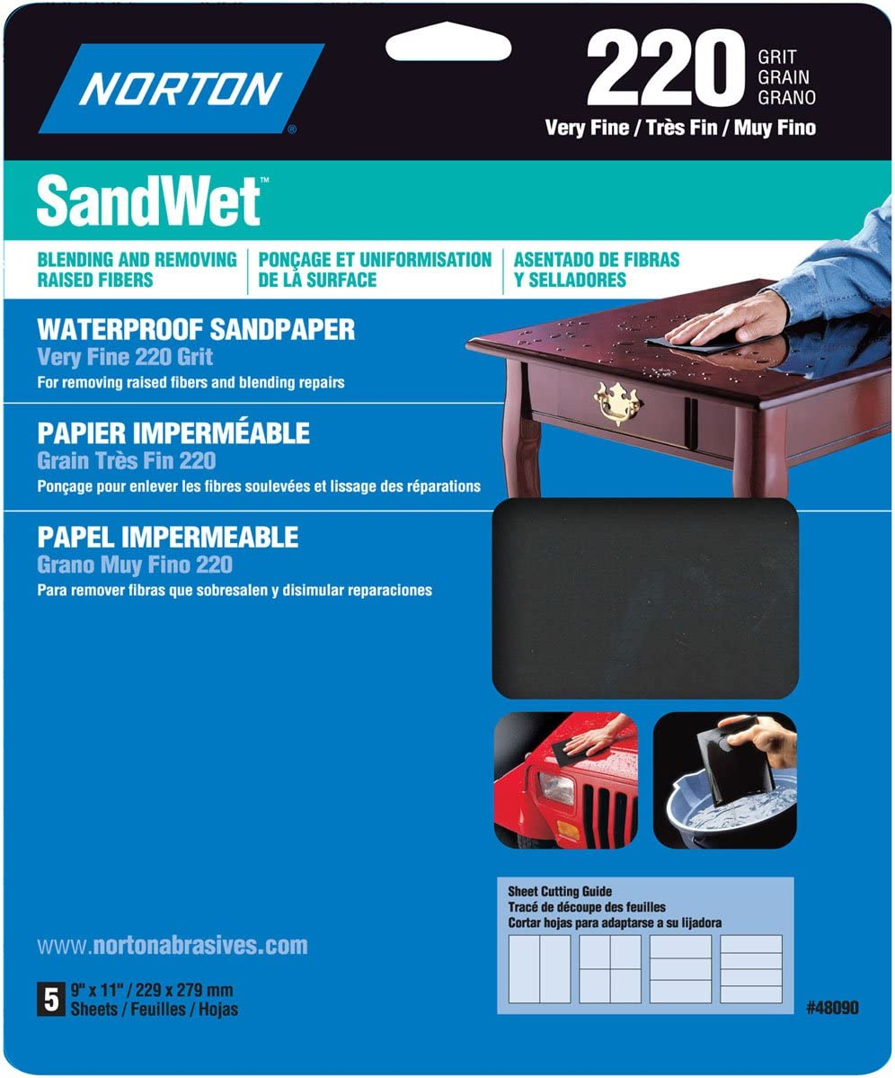 Super Fine 400 Grit 9085NA 9-Inch by 11-Inch 3M Wetordry Sandpaper 5-Sheet Renewed