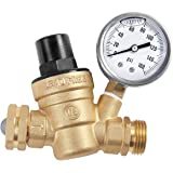 AECOJOY Water Pressure Regulator Brass Lead Free, NH Thread for RV, Adjustable Plumbing with 160 PSI Guage