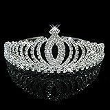 WINOMO Strass cristallo nuziale corona archetto Tiara cerchietto per festa di nozze (argento)