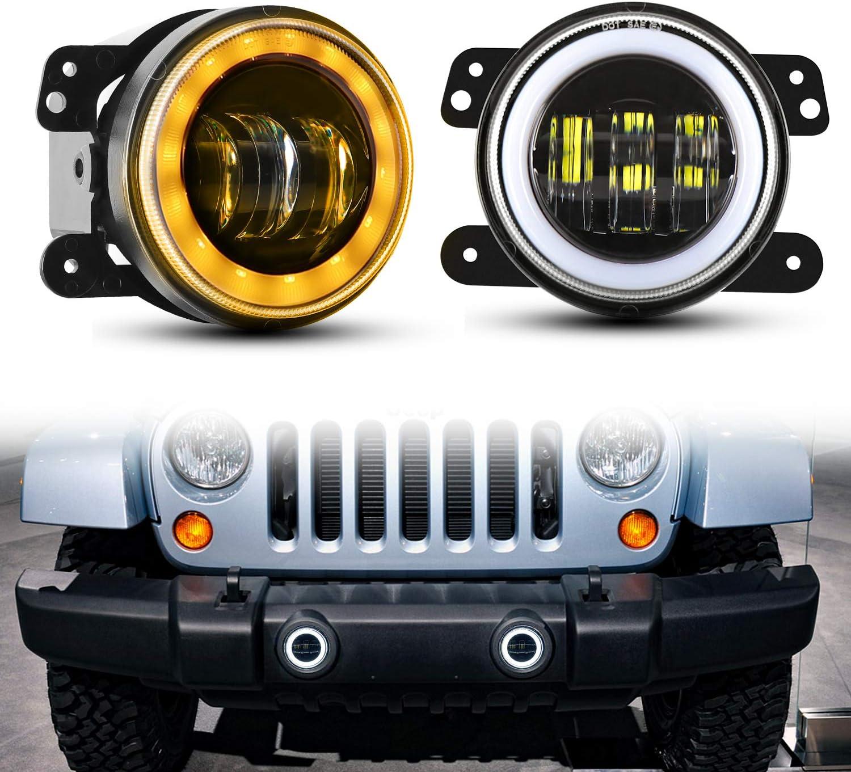 LEDMIRCY 4 Inch Led Fog Lights for 07-18 Wrangler Unlimited JK TJ LJ Off Road 60W White Front Bumper Lights CREE Led Chip Driving Fog Lamps