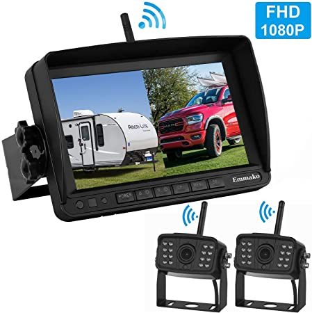 Emmako FHD 1080P Digital Wireless 2 Backup Camera with 7 DVR Monitor Support Split Quard Screen for Trailers,Trucks,RVs,High-Speed Observation System Adjustable Rear Front View, Guide Lines On Off