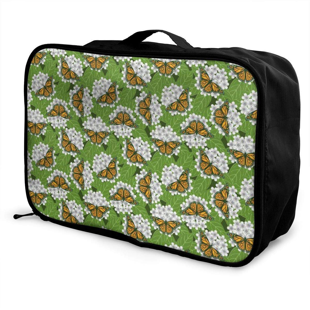 Portable Luggage Duffel Bag Monarch Butterflies Travel Bags Carry-on in Trolley Handle JTRVW Luggage Bags for Travel