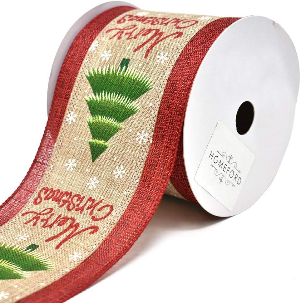4-Inch 10-Yard Spearmint Twill Holiday Plaid Wired Christmas Ribbon