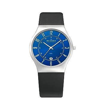 Skagen 233XXLSLN - Reloj analógico de caballero de cuarzo con correa de piel negra: Skagen: Amazon.es: Relojes