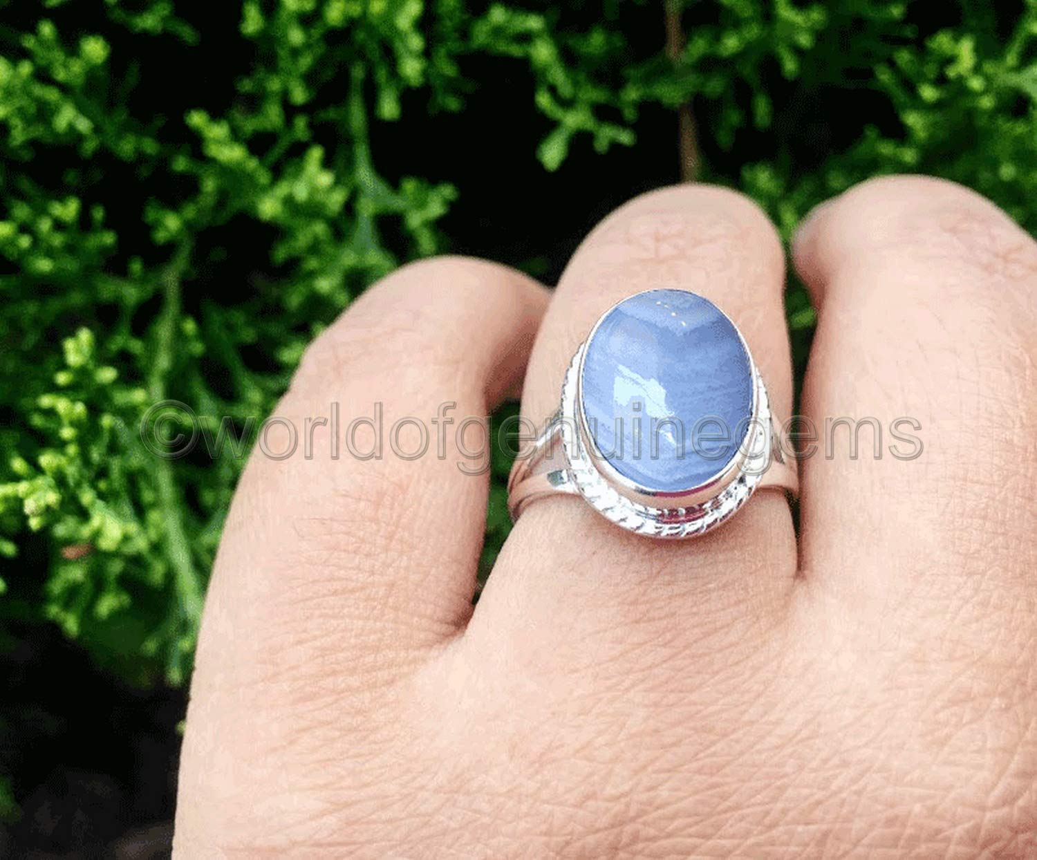 Simple Split Shank Fashion Sterling Silver Blue Lace Cabochon Elongated Oval Agate Ring