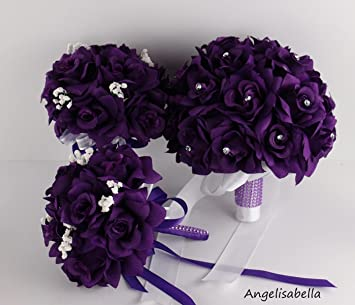 3 bouquet 4 boutonnieres purple bouquet wedding flowers package silk flower