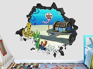 "Sponge Bob The krusty krab Wall Decal Smashed 3D Sticker Vinyl Decor Mural Kids - Broken Wall - 3D Designs - OP532 (Small (Wide 22"" x 16"" Height))"