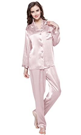 df74519e1d LilySilk Elegant Pyjamas Set Nachtwäsche Seide Schlafanzug Damen Lang 22  Momme (XS, Altrosa)