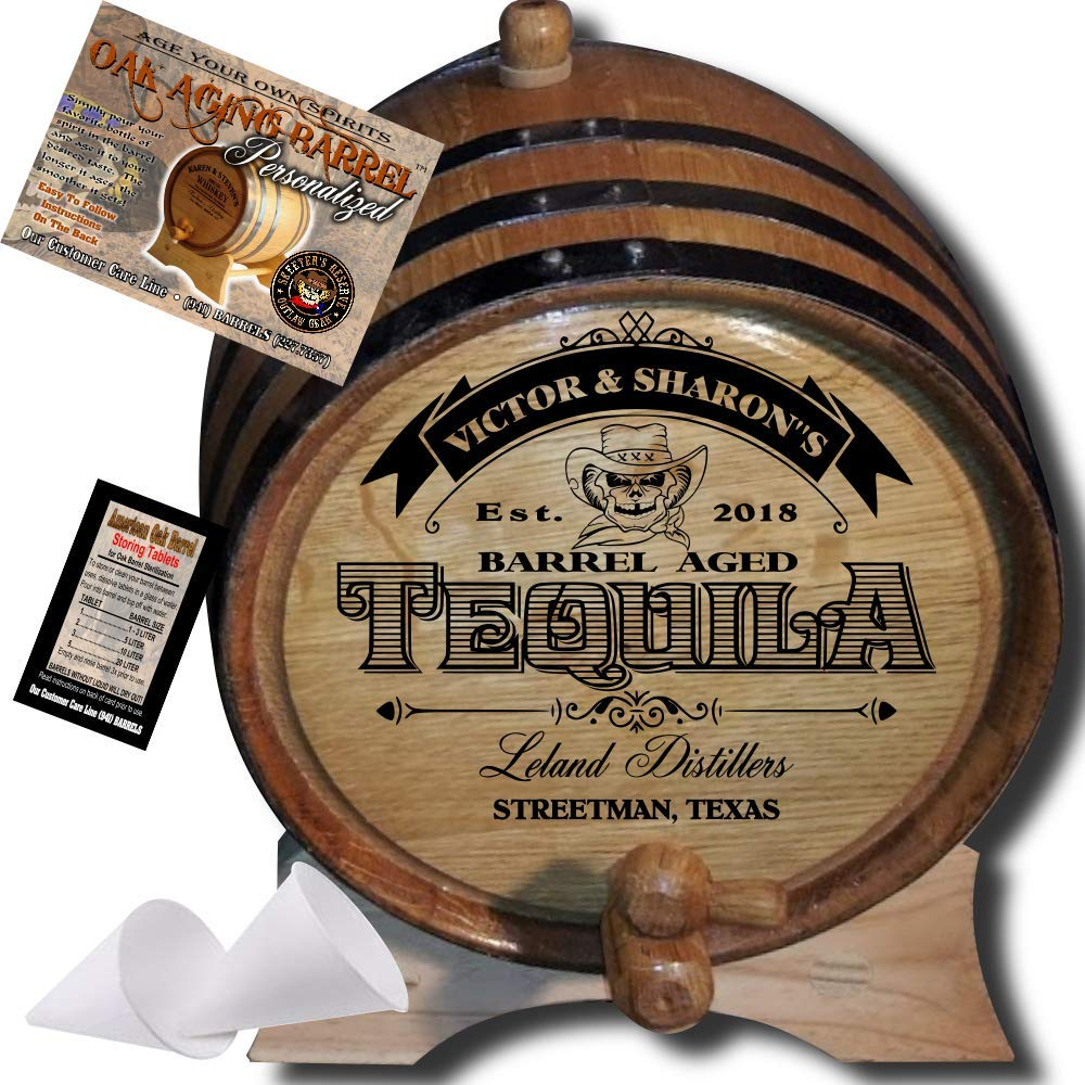 Personalized American Oak Tequila Aging Barrel (104) - Custom Engraved Barrel From Skeeter's Reserve Outlaw Gear - MADE BY American Oak Barrel - (Natural Oak, Black Hoops, 3 Liter)
