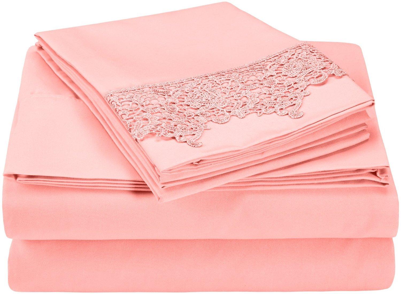 Luxor Treasures Impressions 掛け布団カバーセット シワ防止 3000シリーズ 豪華なレース刺繍 Sheet Set-Full ピンク MF3000FLSH RLPKPK B01LXRJSRE フル|Sheet Set-Pink Sheet Set-Pink フル