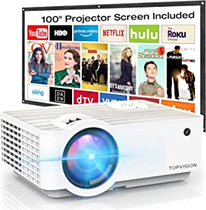 """Video Projector, TOPVISION 5500L Portable Mini Projector with 100"""" Projector Screen, 1080P Supported, Built in HI-FI Speakers, Compatible with Fire Stick, HDMI, VGA, USB, TF, AV, PS4"""