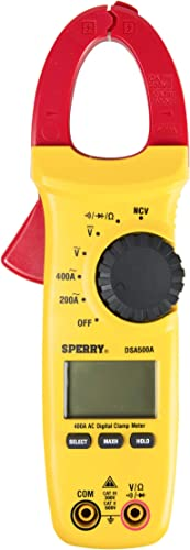 Sperry Instruments DSA500A Digital Snap-Around Clamp Meter, 5 Function, 9 Range, 400-600V AC DC, with Case, Measures Outlet Panel Voltage