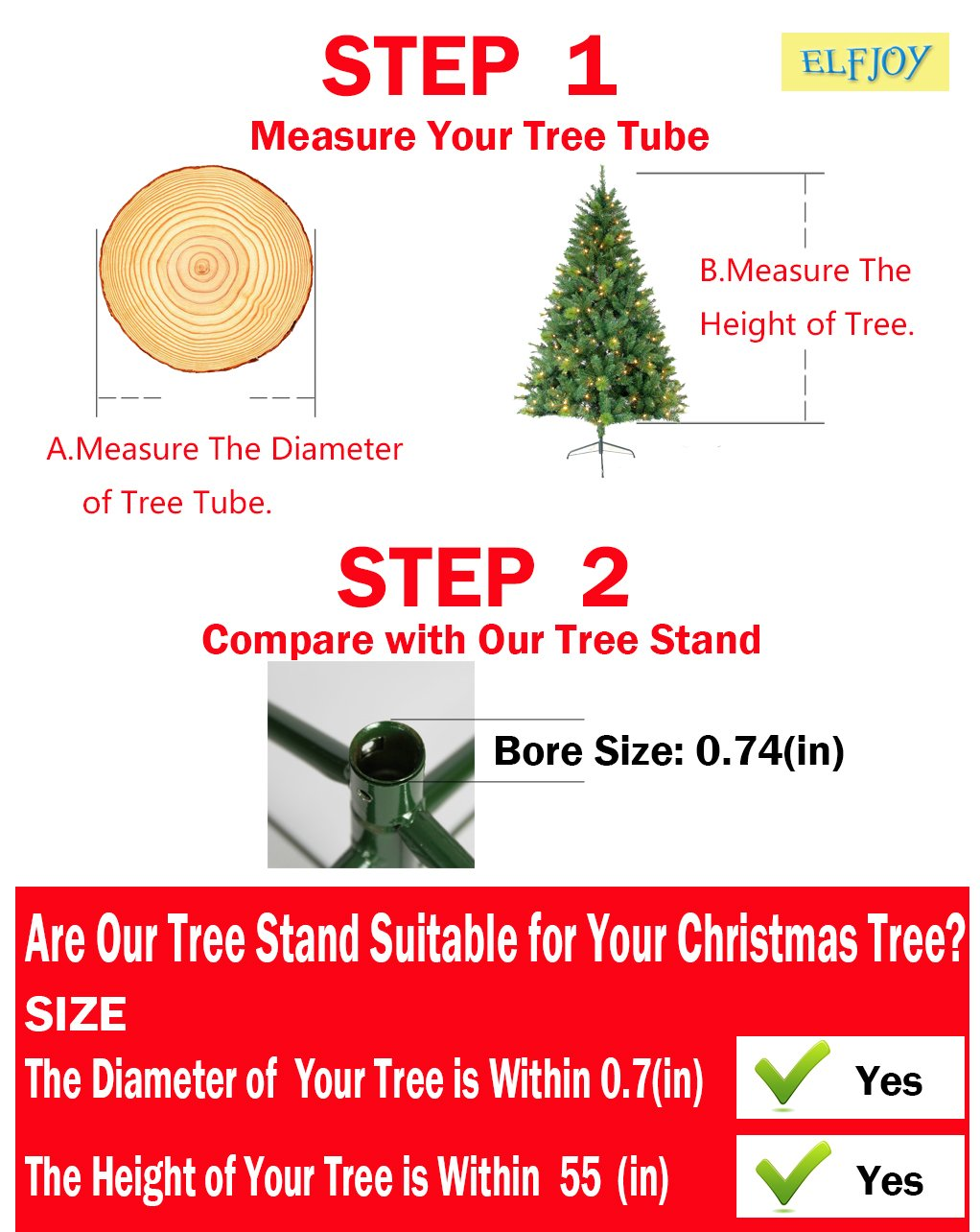 Elfjoy Christmas Tree Stand 13.8 inches Iron Metal Bracket Rubber ...