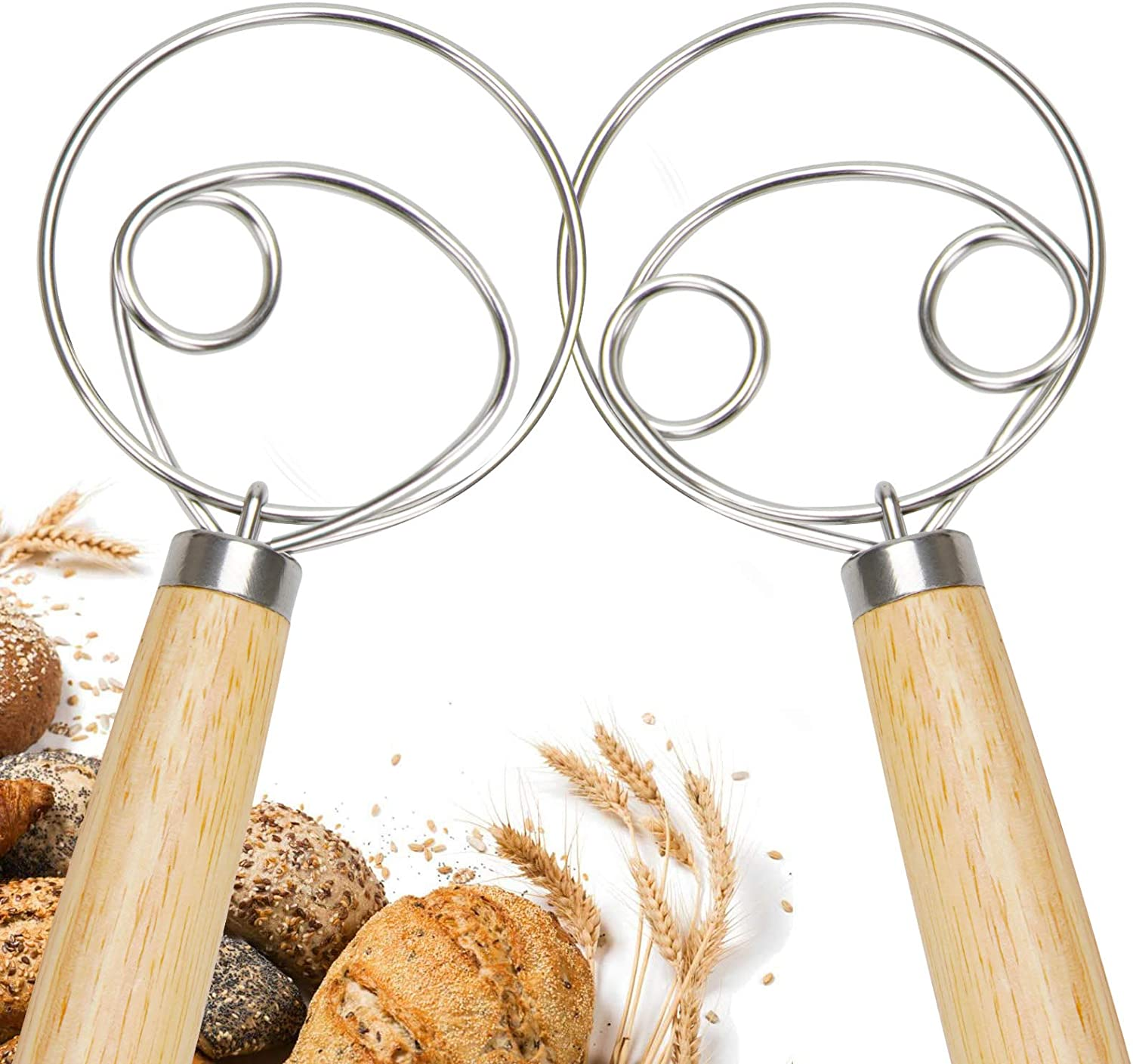 Dough Whisk Bread Mixer And Egg Beater,Stainless Steel,Kitchen Baking Tools Blender For Bread Pastry Pizza Making 2 Pack