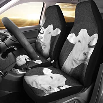 Brown Swiss Cattle Cow Print Car Seat Covers Universal Fit