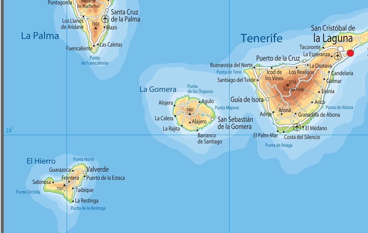 Cartina Geografica Canarie.Isole Canarie Mappa Fisica Carta Plastificata Ga A2 Size 42 X 59 4 Cm Yellow Amazon It Cancelleria E Prodotti Per Ufficio