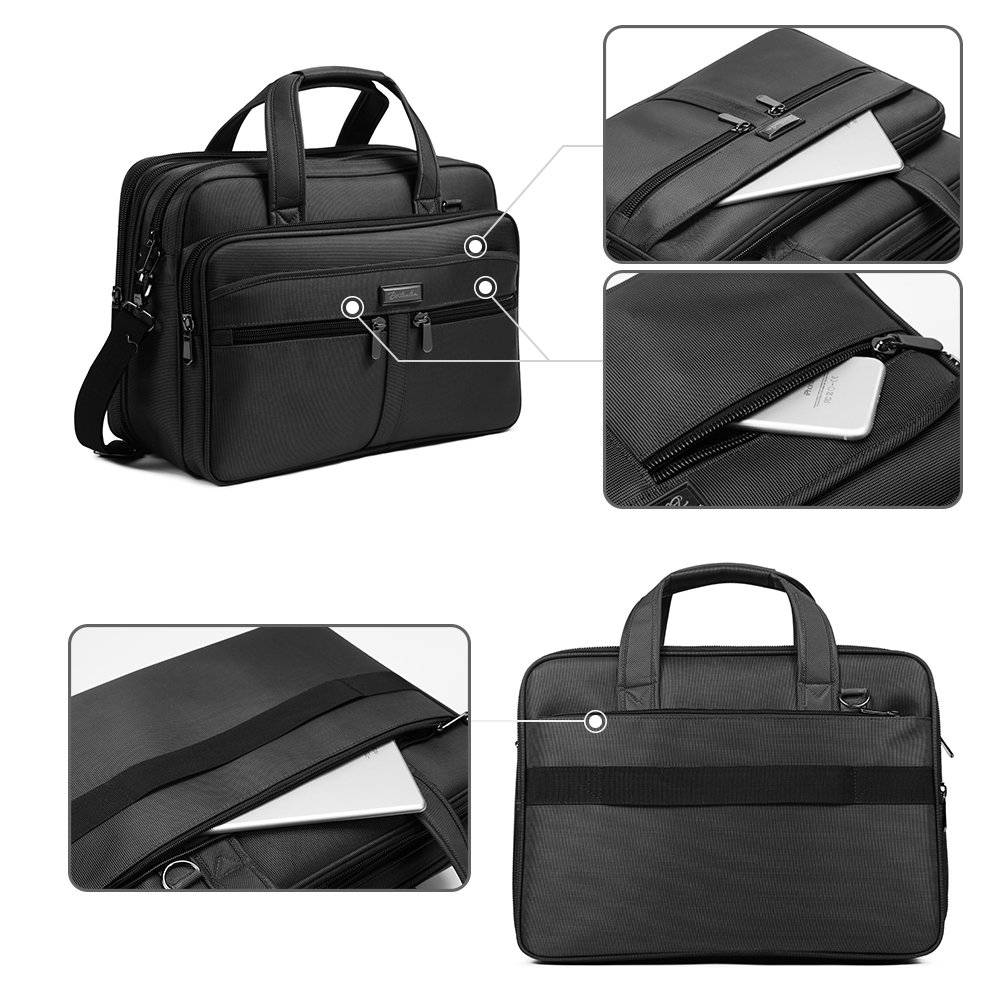 BOSTANTEN 17 inch Laptop Bag Case Expandable Briefcases for men Hybrid Computer Water Resisatant Business Messenger Shoulder Bag by BOSTANTEN (Image #3)