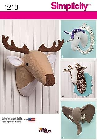 Simplicity Creative Patterns 1218 Plush Stuffed Animal Heads, OS (ONE SIZE)