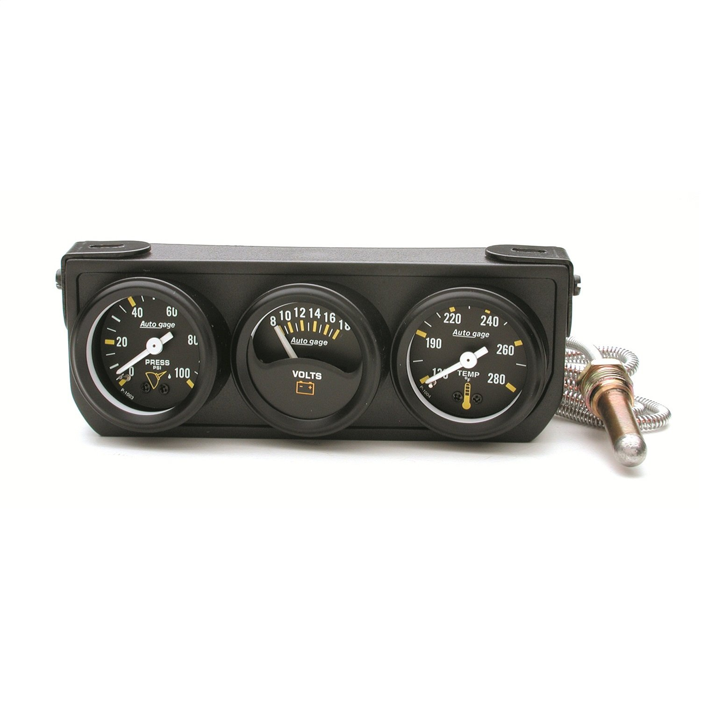 Auto Meter 2396 Black 1-1/2' Mechanical Three-Gauge Console