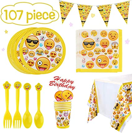 Amazon.com: Betheaces Emoji Party Supplies Pack de 107 ...