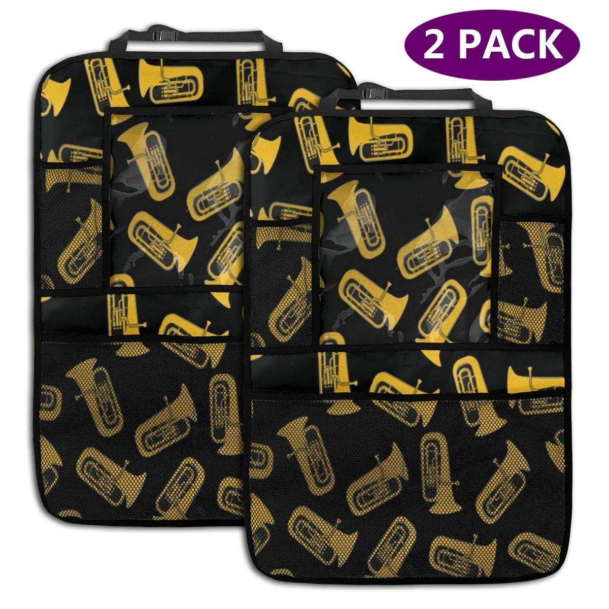 QF6FEICHAN Isolated Tuba Musical Instrument Car Seat Back Protectors with Storage Pockets Kick Mats Accessories for Kids and Toddlers by QF6FEICHAN