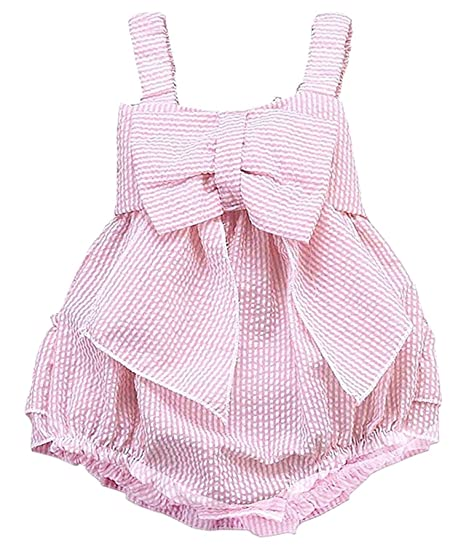 29c42b3ccac Baby Girls Striped Seersucker Bubble Straps Ruffle Layers Bowknot Romper  (Pink