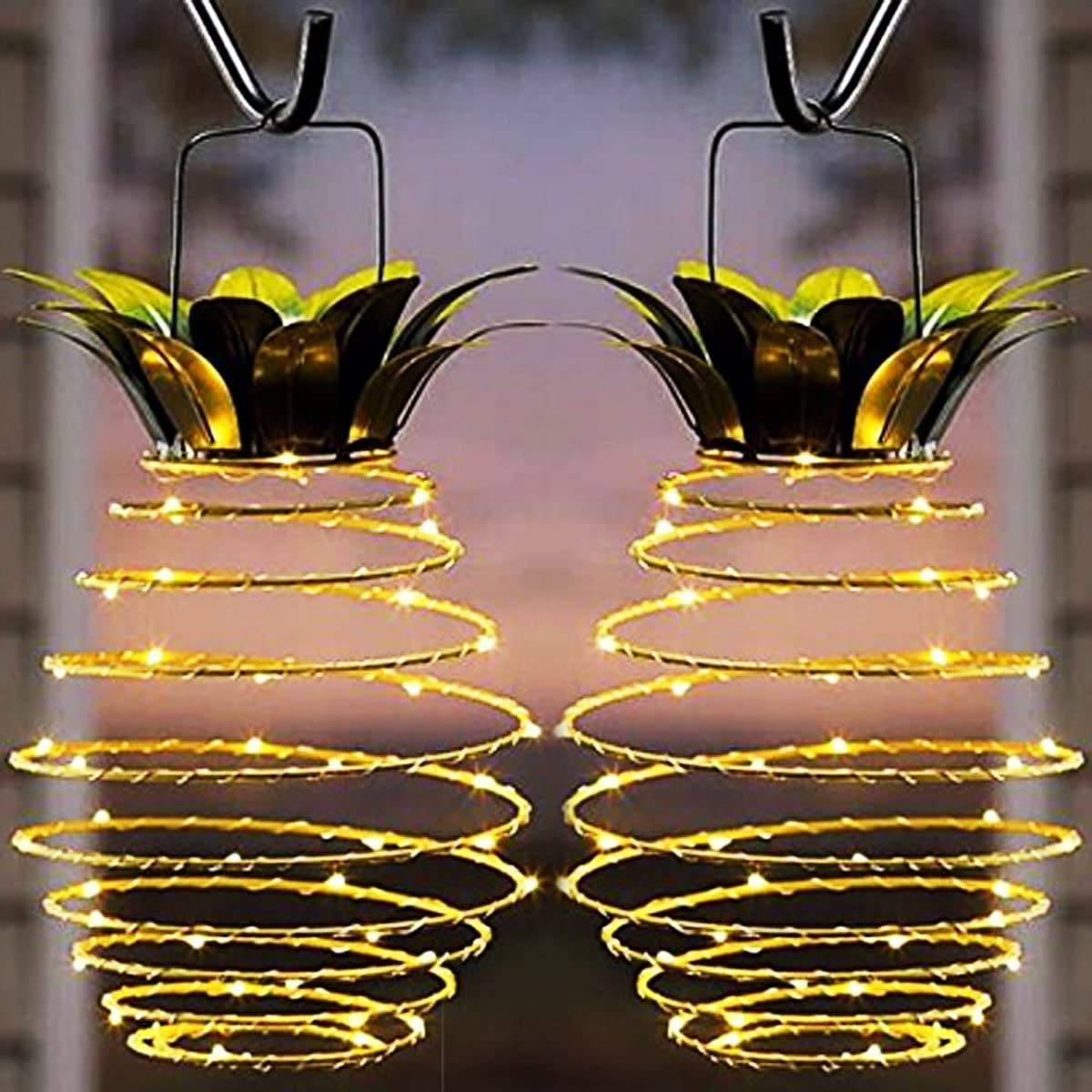 Garden Solar Lights, Outdoor Decor Pineapple Solar Path Lights Hanging Fairy Lights, 2-Pack Waterproof 25 Solar Led Warm Fairy String for Patio Path Home Décor Lighting