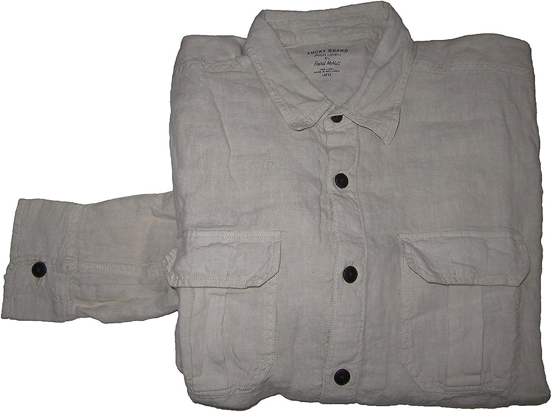 Lucky Brand Irish Linen Shirt LS Mens Size Large Cream