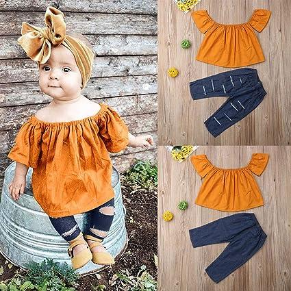 Hosen 2 St/ück Outfit Set Pwtchenty 2019 Kinderbekleidung Kleinkind Baby M/ädchen Kleidung Set Kurzarm Crewneck Nationaler Stil T-Shirt Top Oberseiten