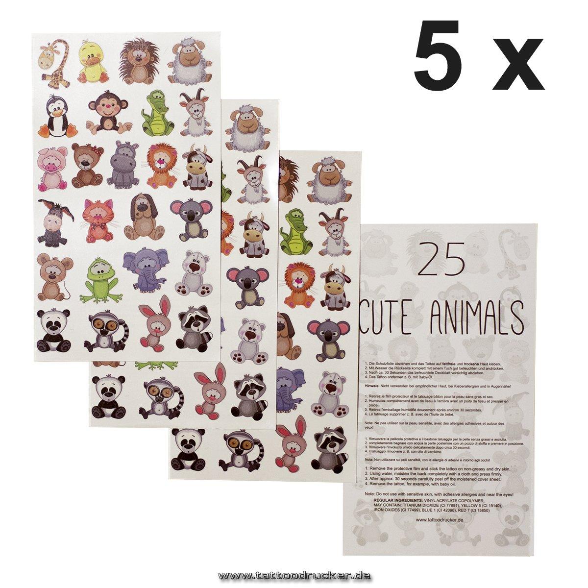 25 temporary Tiny Cute Animals Tattoo Sticker 1 1 x Tier-Kinder Tattoo Bogen Kinder Geburtstag Party