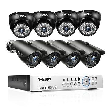 TMEZON 4 canales 1080P AHD hogar sistema de cámaras de seguridad DVR Kit 4 x HD