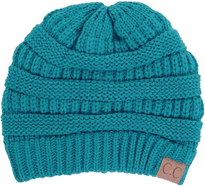Teal skull C.C beanie with fuzzy lining
