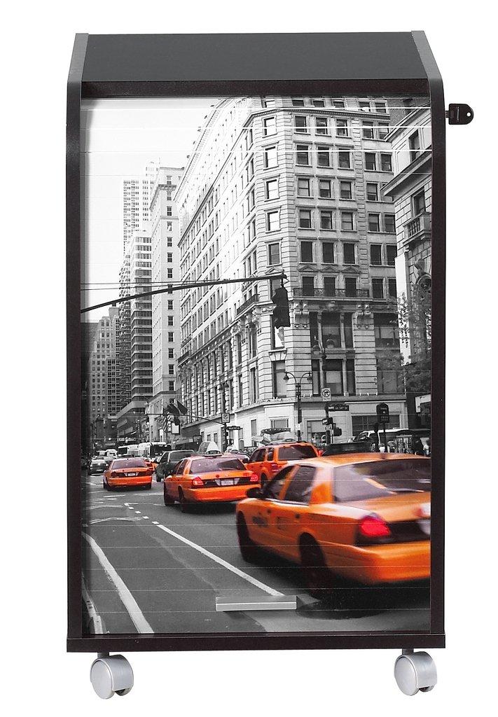 Simmob IBOX070NO510 New York Meuble Informatique de Bureau Panneau de Bois-Mélamine Noir 45 x 41 -4 x 69 -2 cm