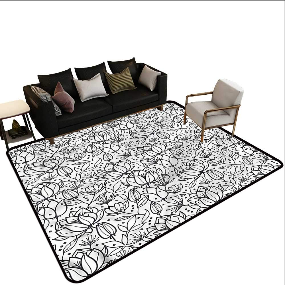 """Floral,Floor Mat For Toilet Non Slip 36""""X 60"""" Orchid Flowers Leaf Cheap Rugs"""
